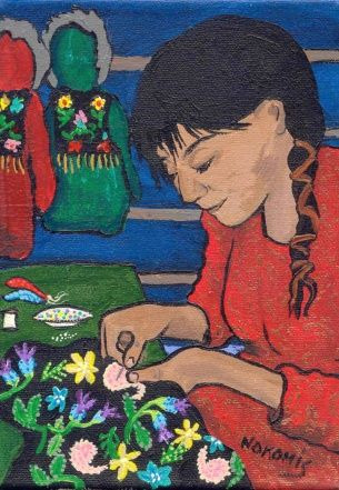 A man's beaded coat in a painting by Ojibwa artist Nokomis.Native Canadien