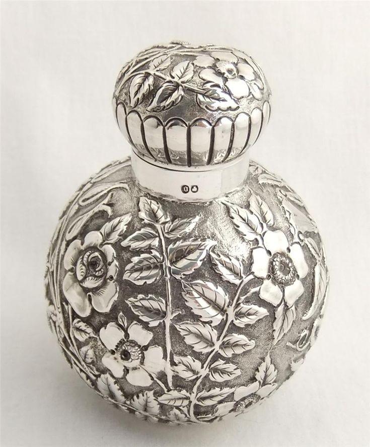 Precioso antiguo plata esterlina perfume de la botella Perfume 1888