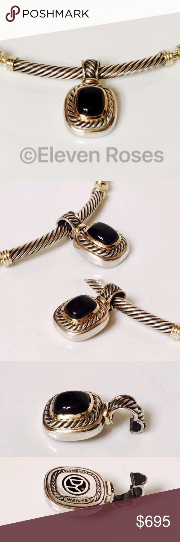 David Yurman Black Onyx Albion Pendant Enhancer David Yurman Large Black Onyx Albion Pendant / Enhancer  925 Sterling Silver & 14k Yellow Gold - Blue Topaz Gemstone - Large Hinged Bail  Preowned / Preloved 💕 May Show Slight Signs Of Having Been Worn 📷 Listing Images Are Of Actual Item Being Offered Cable Choker Necklace Sold Separately 999 Jewelry Necklaces