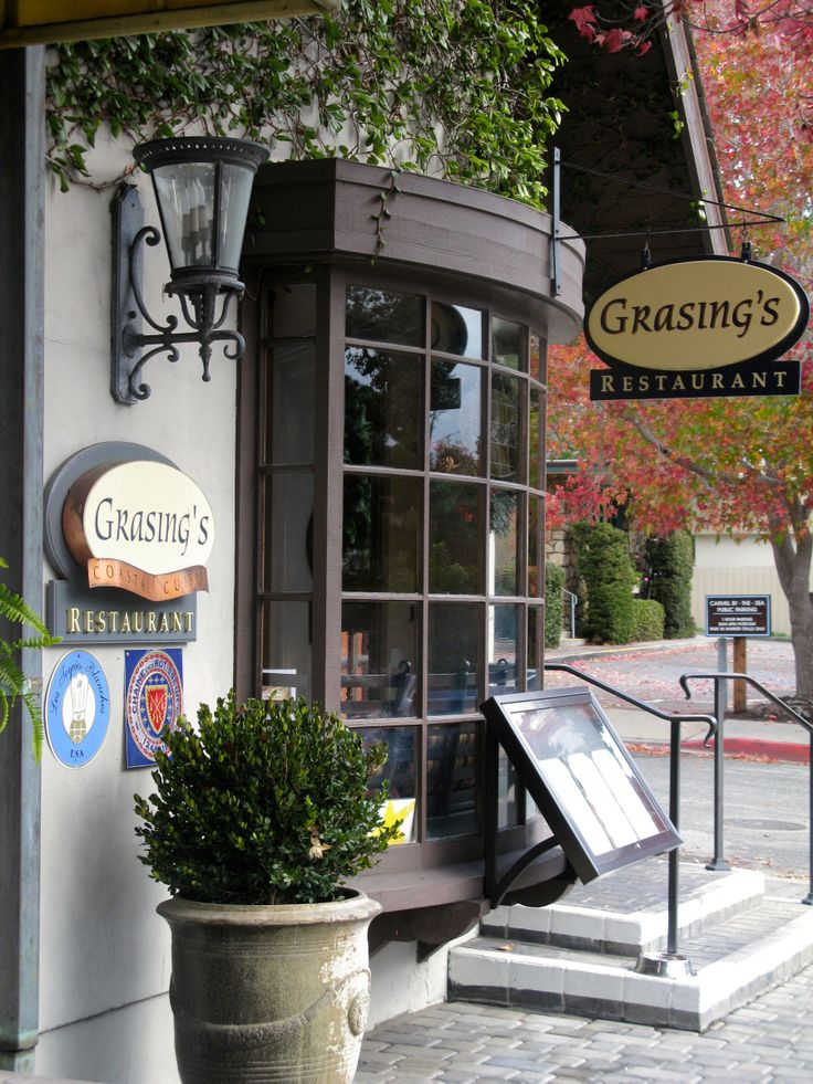 Grasing's - Carmel Restaurant . Delicious veal chops, filet mignon that melts in your mouth, good wine list.