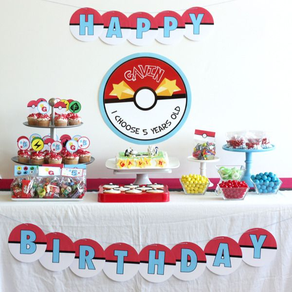 Image of printable POKEMON birthday party collection $30