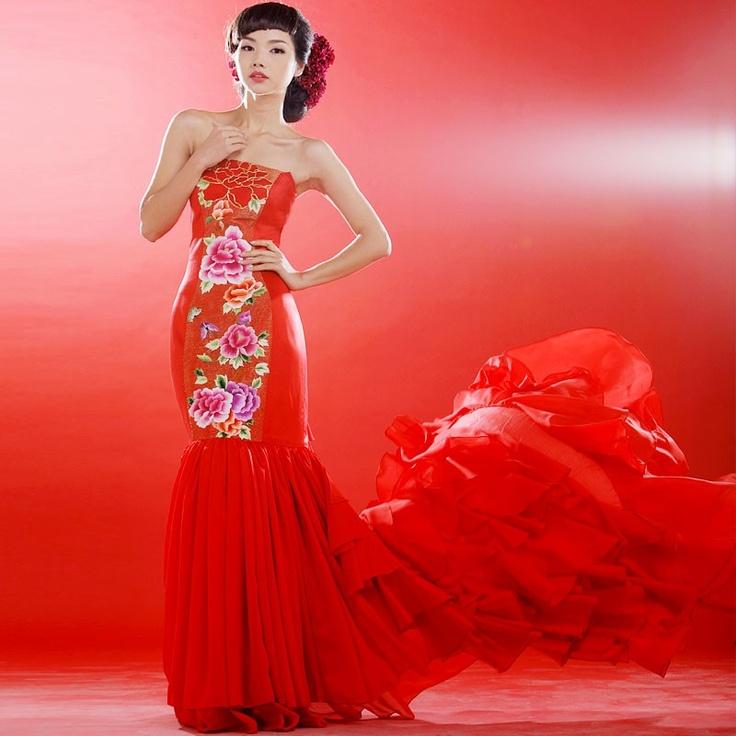 Luxury hand-made embroidery peony long Qipao dress. Wine red