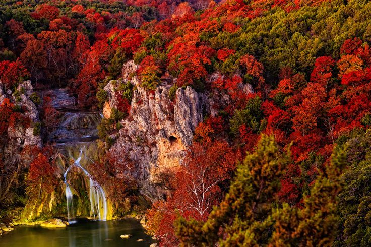 Turner Falls Cabins | Turner Falls is a beautiful scenic 77 foot high waterfall along Honey ...