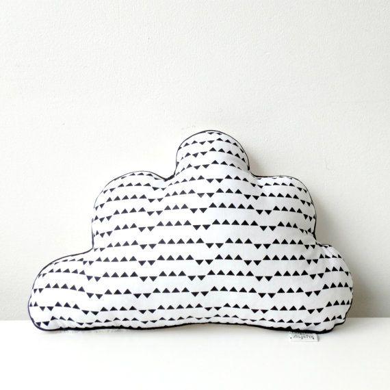 Black & white chevron striped cloud pillow by Latelierdejuliette