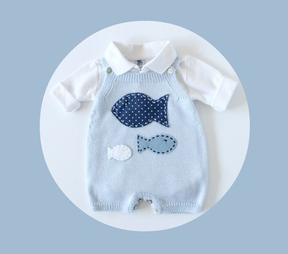 Knitted overalls in soft blue with fishes. 100 by tenderblue, $70.00