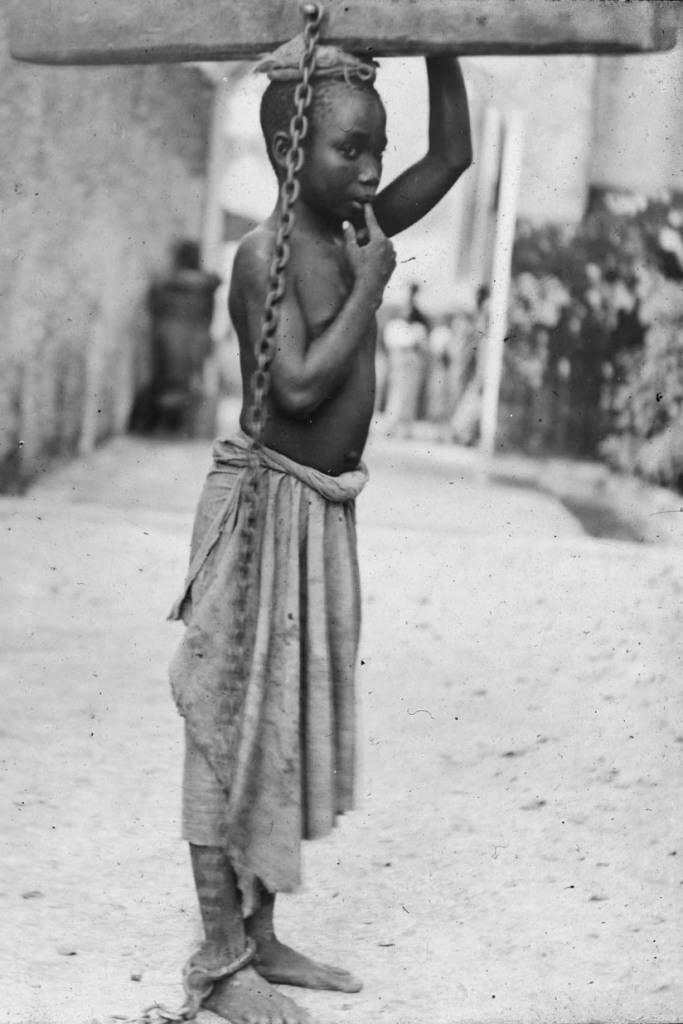 Slave at Zanzibar Slave Market. This is shameful and so sad.