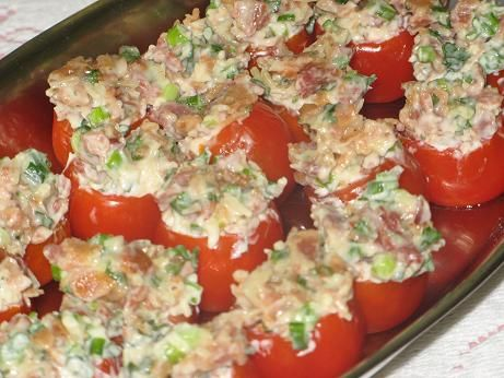 BLT Stuffed Tomatoes...It's much easier if you use Roma tomatoes..the cherry tomatoes are way too small to stuff!