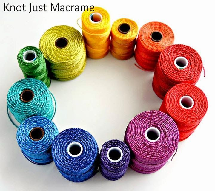The cord I use is twisted nylon (usually C-lon or Superlon brand) and is available in four different sizes.  I favor the middle of the road size, which is .5mm in diameter.  It will fit through an 11/0 seed bead and an 8/0 bead will accommodate two cords.  Fiber in Jewelry:  Micro Macrame