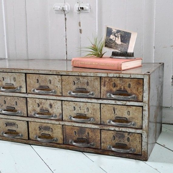 * wood cab. frame, metal covered crate drawers *