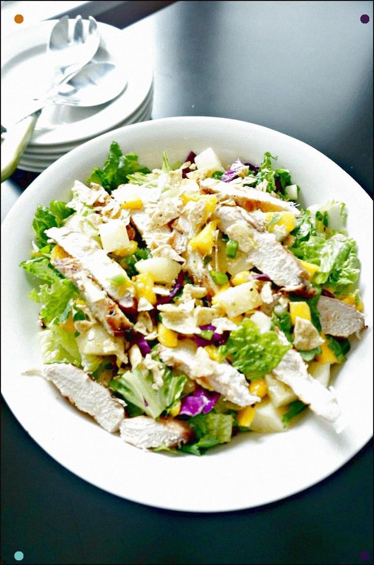 A Fabulous Caribbean Salad With Grilled Chicken, Mango Salsa And Fresh Honey Ora…
