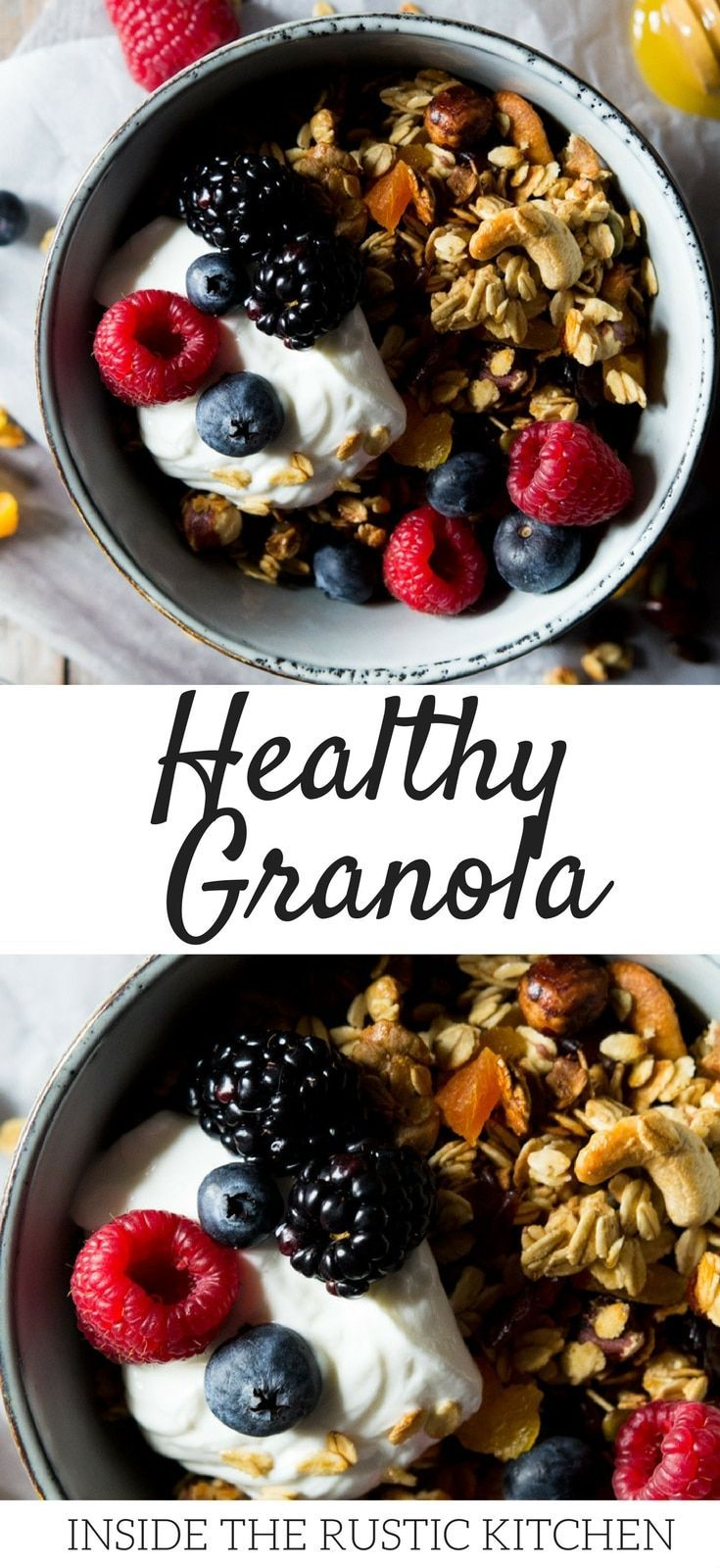 Easy healthy granola recipe. This simple homemade granola is made with honey nuts, seeds and dried fruit which you can adapt to make your very own favourite granola. It's so easy to make and will give you a whole batch for the week. Store in a tightly sealed container for up to 1 month. #granola #healthybreakfast #healthybreakfastrecipes #recipes #breakfast #easygranola #homemadegranola via @InsideTRK