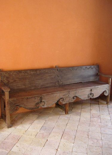 Mexican Rustic Style Bench. Is That Wall Color Cantaloupe ?