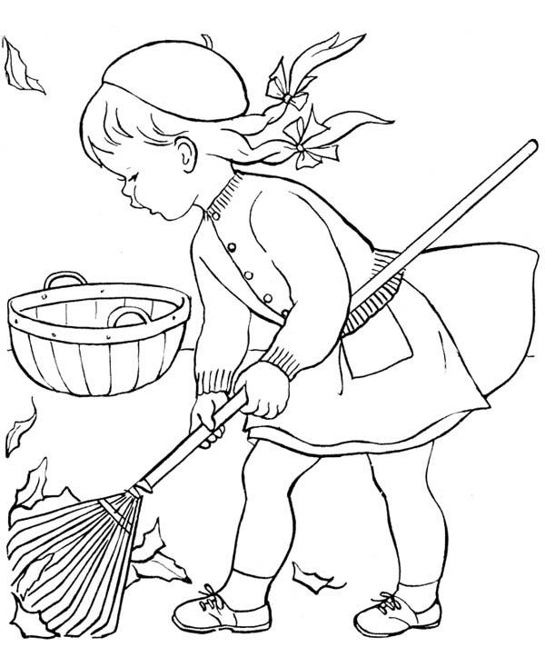 Autumn Little Girl Sweeping In Autumn Leaves Coloring Page