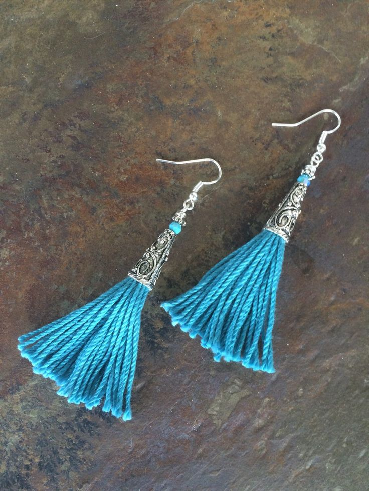 A personal favorite from my Etsy shop https://www.etsy.com/listing/273015070/turquoise-tassel-earrings
