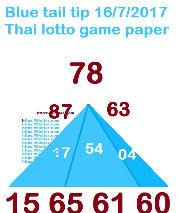 Blue tail tip 16.7.2017 Thai lotto game paper