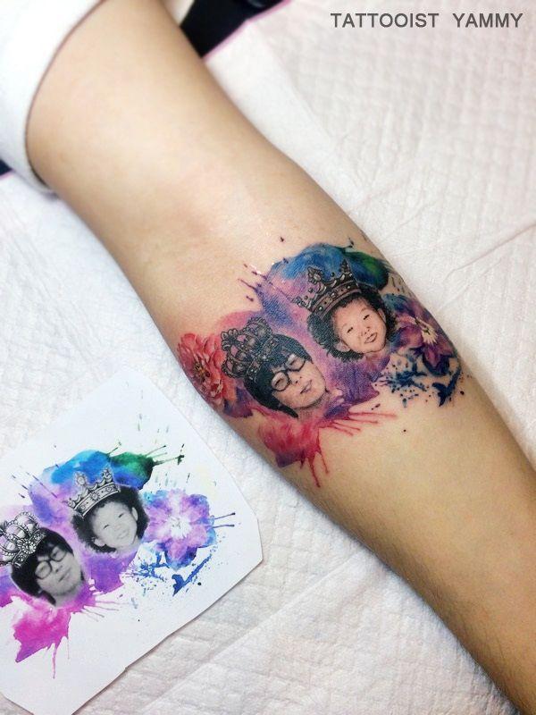 #인물타투 #수채화타투 #리얼리티 #인물 #사진타투 #가족 #왕관 #홍대타투 #타투이스트야미 #family #watercolortattoo #realitytattoo #tattoos #tatuaje #tattooistyammy