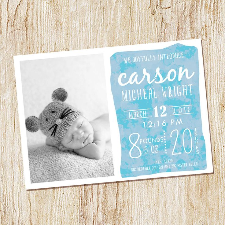 printed birth announcement