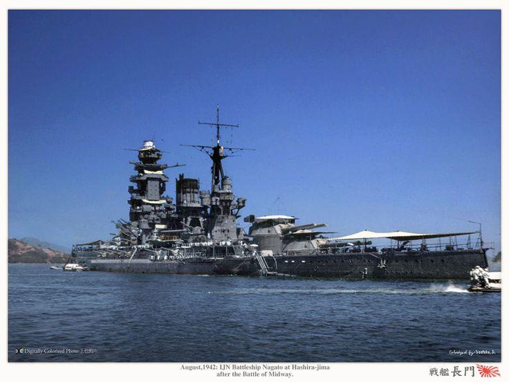 IJN Battleship Nagato at Hashira-jima after the Battle of Midway | 大日本帝国海軍戦艦-長門 (google.image) 9.17