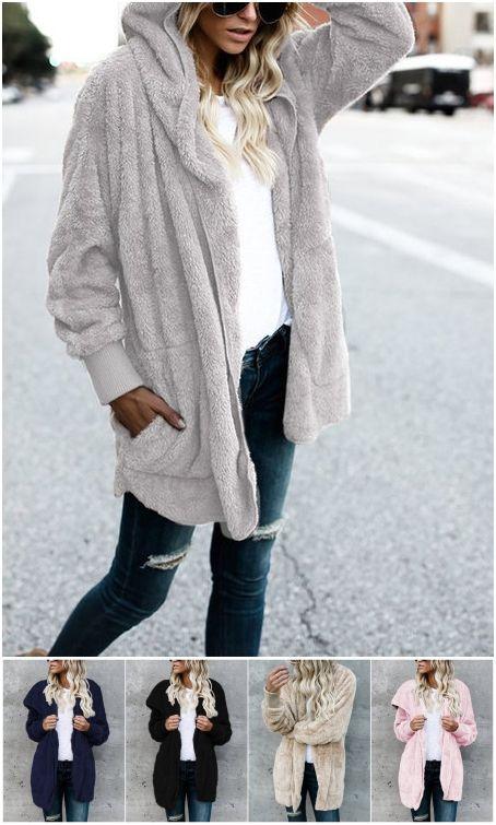Hooded Lapel Collar Long Sleeves Sweaters Coat
