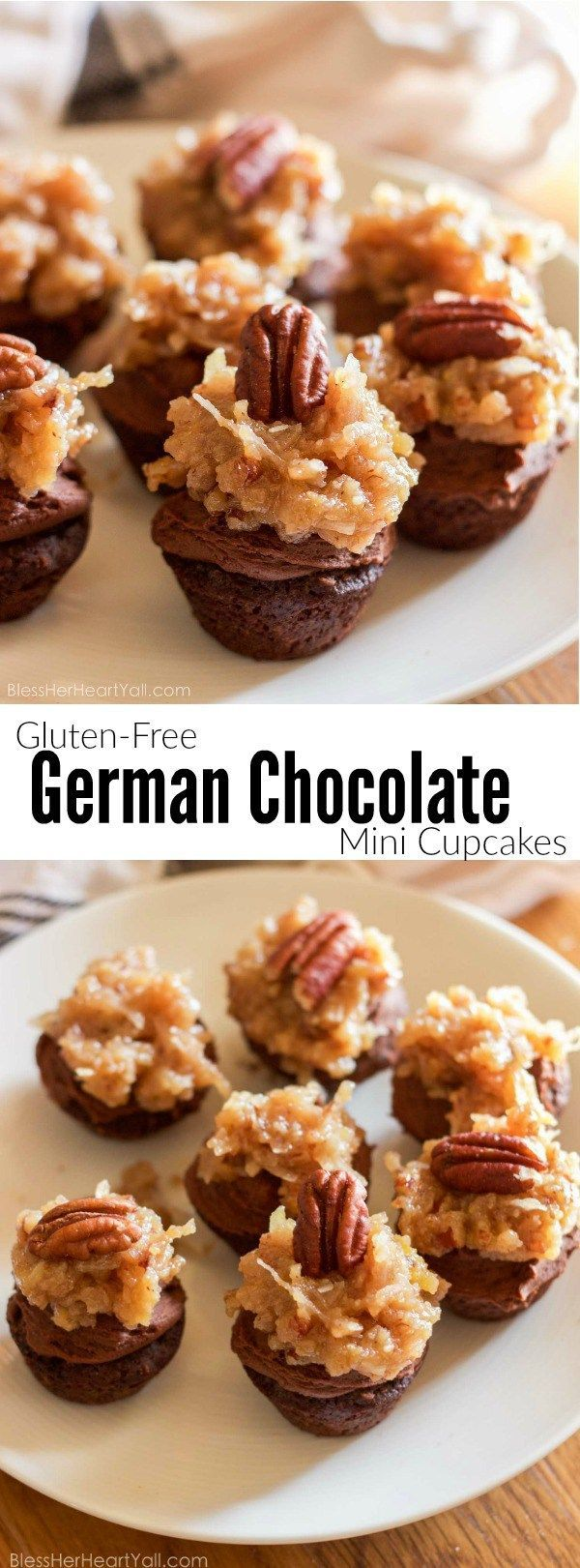 These fluffy and soft made-from-scratch gluten-free german chocolate mini cupcakes are a decadent little sweet treat, perfect for when you need a bite of something full of coconut, chocolate, and creaminess!