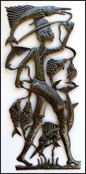 "Haitian Ethnic Metal Art - Fisherman with Days Catch - Steel Drum Metal Art of Haiti - 16"" x 34"""