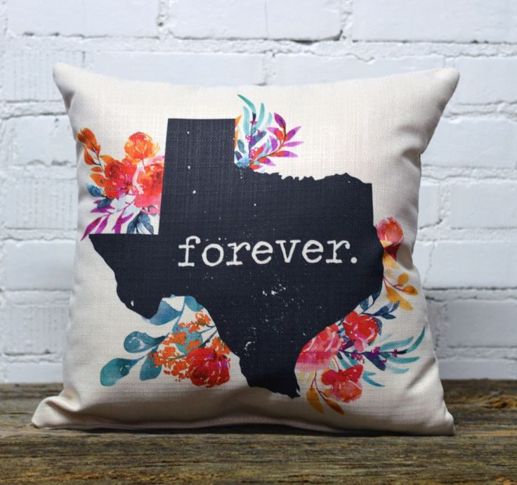 "Dimensions: 18"" x 18"" Texas Forever."