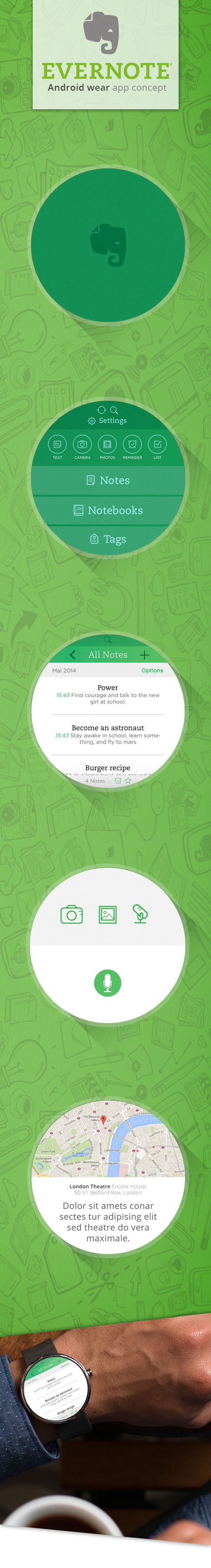 Evernote Portable - Android wear concept by Oliver Günther, via Behance #wearable #smart #watch #mobile #ui #ux #design via http://bit.ly/1rHjdmu