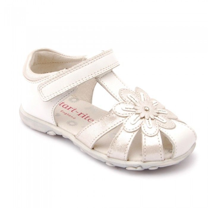 Startrite Primrose Girls Closed Toe Sandal Size 4 4.5 5 5.5 6.5 7 7.5 White/Silv