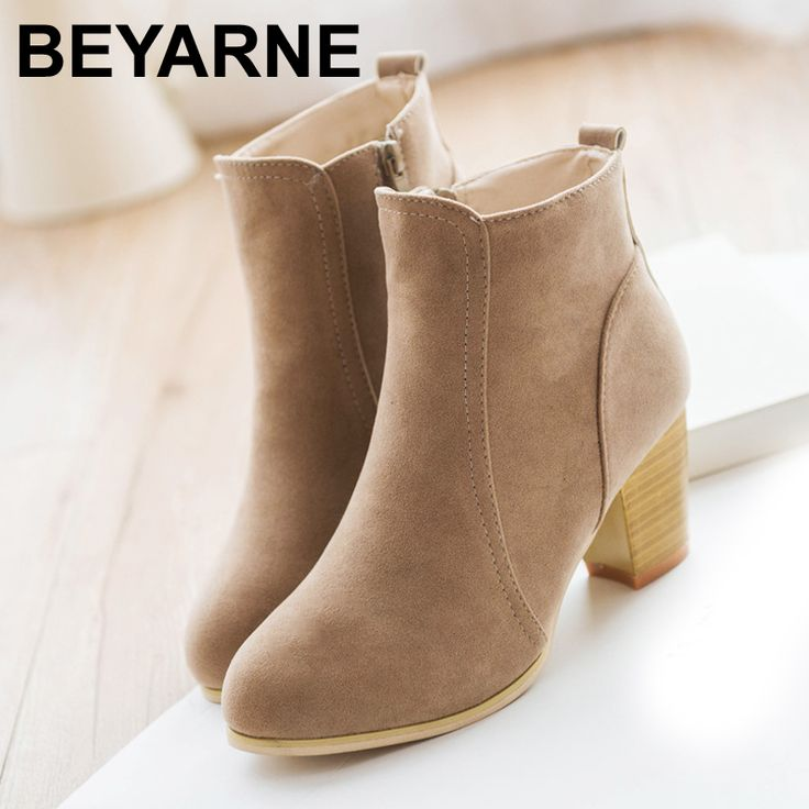 Autumn & winter short cylinder boots high heels  Martin boots women ankle boots Side zipper boots thick scrub #clothing,#shoes,#jewelry,#women,#men,#hats,#watches,#belts,#fashion,#style