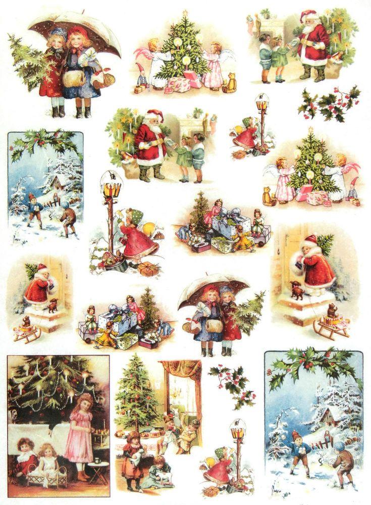 Ricepaper/Decoupage paper, Scrapbooking Sheets /Craft Paper Vintage Christmas