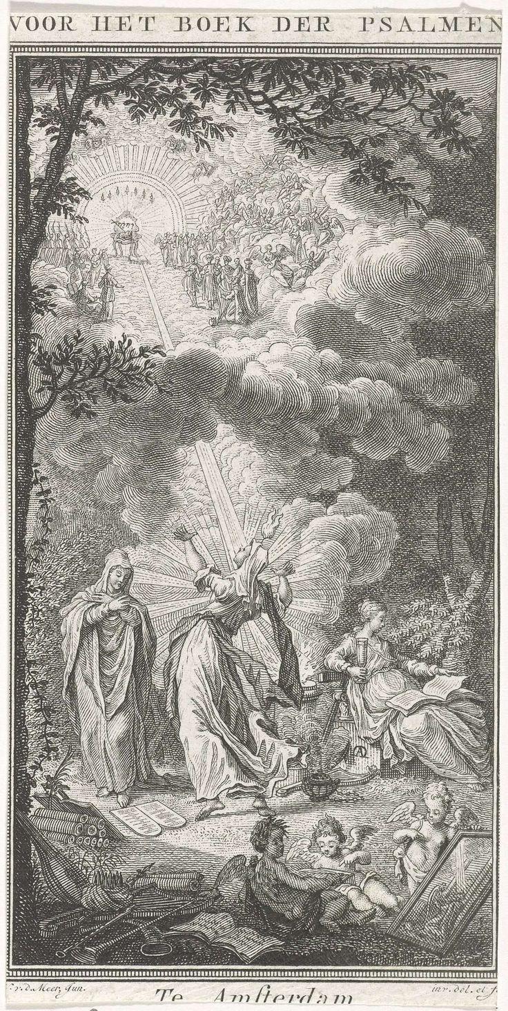 Noach van der Meer (II) | Goddelijke Inspiratie opkijkend naar de hemel, Noach van der Meer (II), 1775 | De Goddelijke Inspiratie, met een vlam op haar hoofd, kijkt op naar de hemel naar Lam Gods, dat op een troon zit. Het Lam wordt geflankeerd door engelen en heiligen. Aan weerszijden van de Goddelijke Inspiratie een staande vrouw, die de tien geboden leest en een zittende vrouw met de bijbel op haar schoot. Op de voorgrond drie putti.