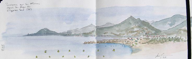 https://flic.kr/p/KT6Cgn | Panorama sur les Albères, Pyrénées-Orientales | Encre et aquarelle sur Moleskine A5, depuis une plage de Saint Cyprien Sud