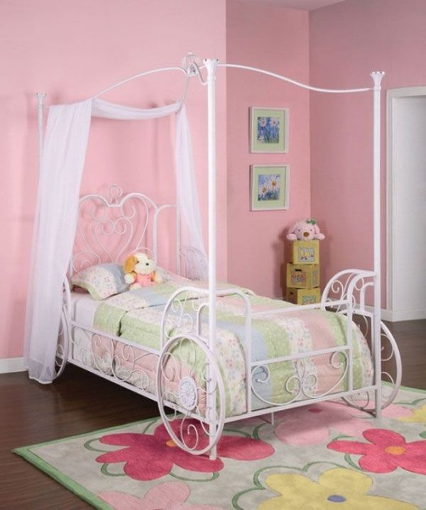 Princess Emily Carriage Canopy Twin Size Bed Powell Embellished With  Carriage Wheels That Are Elegantly Designed In Tubular Steel With