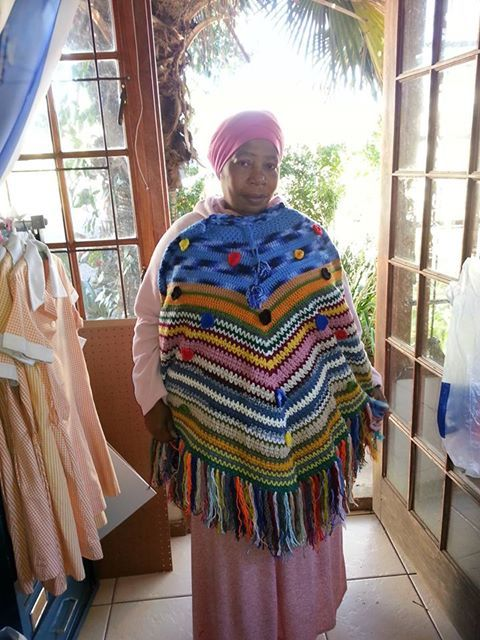 Beautiful hand made shawl for sale made by the women of Woza Moya