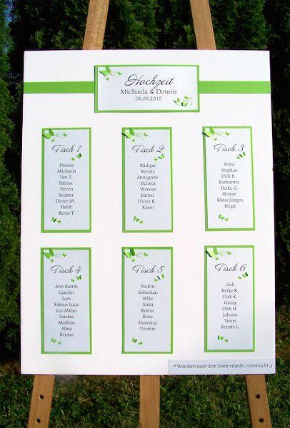 Tischplan Hochzeit maigrün Schmetterlingsranke