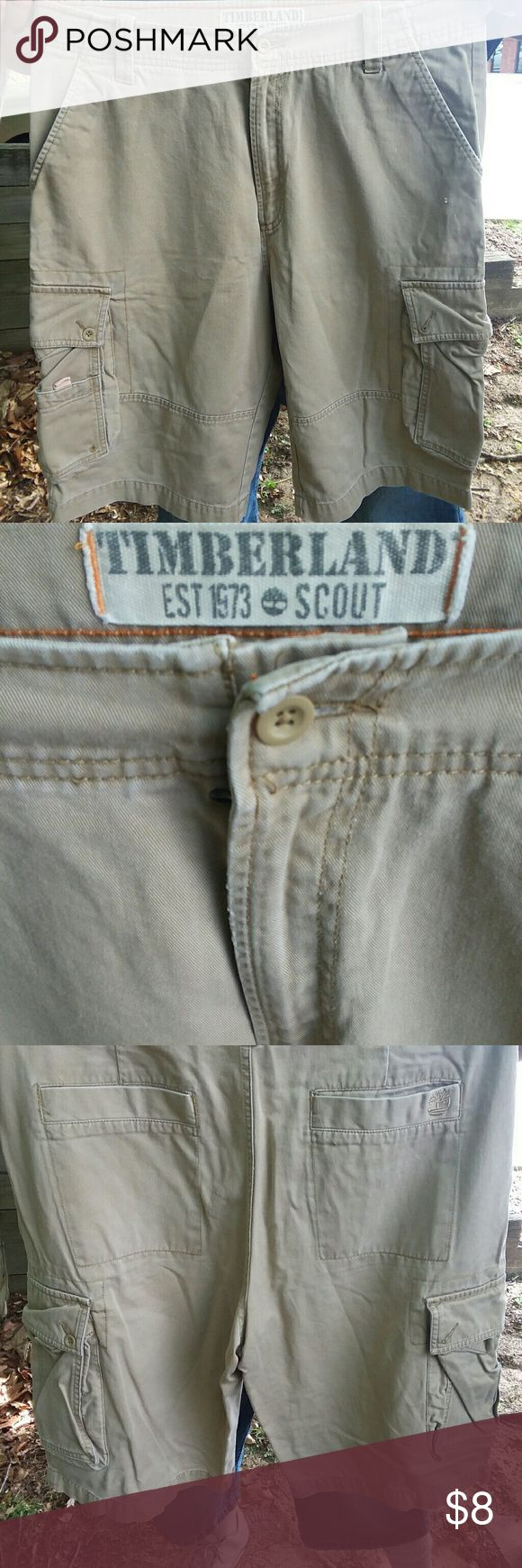 MENS TIMBERLAND CARGO KHAKI SHORTS SZ. 36 I am selling a pair of men's Timberland Scout khaki cargo shorts size 36 very good condition. Sorry about the wrinkles fellows but my iron failed me LOL. Gentleman if you know timberland then you know these pants can be worn for a very very long time the quality does not disappoint, they may be used but they are too nice to throw out ?? Timberland Shorts Cargo