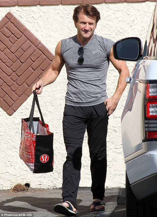 Looking great: Robert Herjavec, the 'nice' Shark on ABC's Shark Tank, showed off his well muscled chest and arms in a tight grey Nike T-shirt