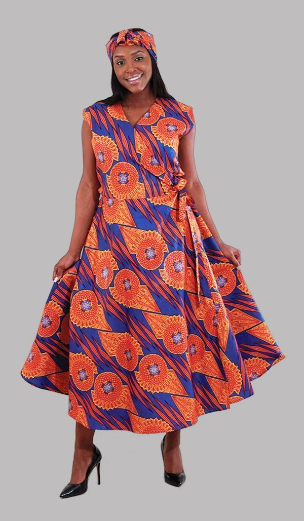 274879c8c5 African Patterned Sleeveless Wrap Dress in Blue - This beautiful  traditional African print dress is covered