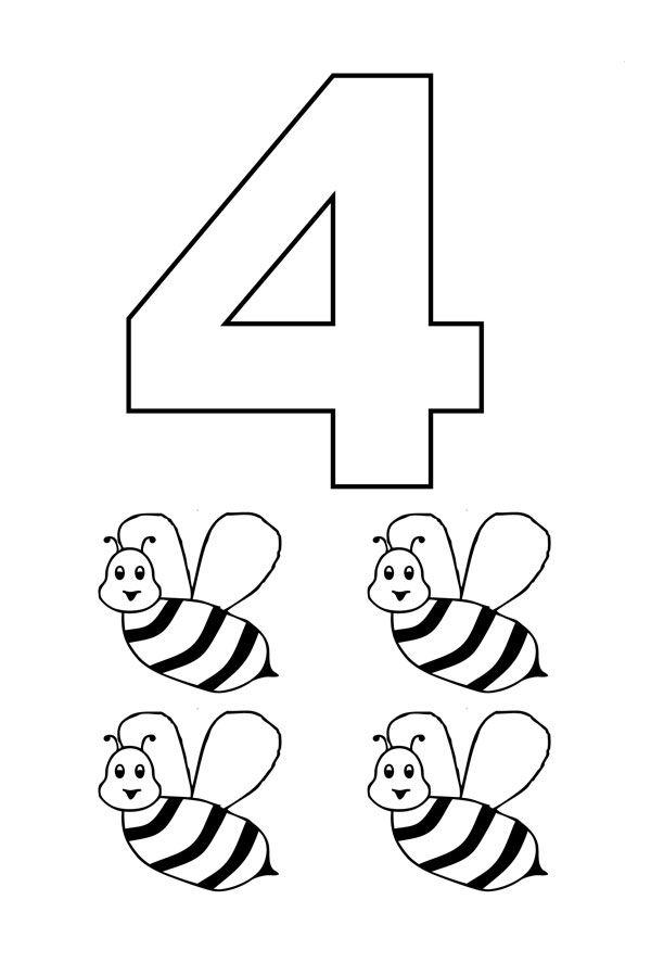 Numero 4 Com Figuras Hojas De Trabajo Jardin De Infancia