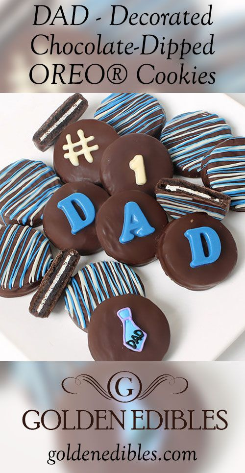 """There is no better way to show your love than with our DAD decorated Belgian chocolate-dipped OREO® Cookies Gift.  An assortment of 12 OREO® Cookies are douced in rich Milk, Dark, and White Belgian Chocolates and then decorated with the words """"DAD"""" spelled out in white chocolate lettering. Arrives in an elegant gift box perfect for giving with your personalized Gift Card.  OREO® is a registered trademark of Mondel?z International Group"""