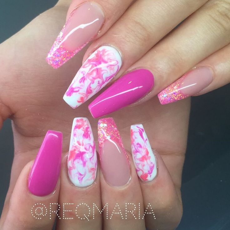 Pink & Peach + Marble + Glitter long coffin nails @reqmaria #nail #nailart