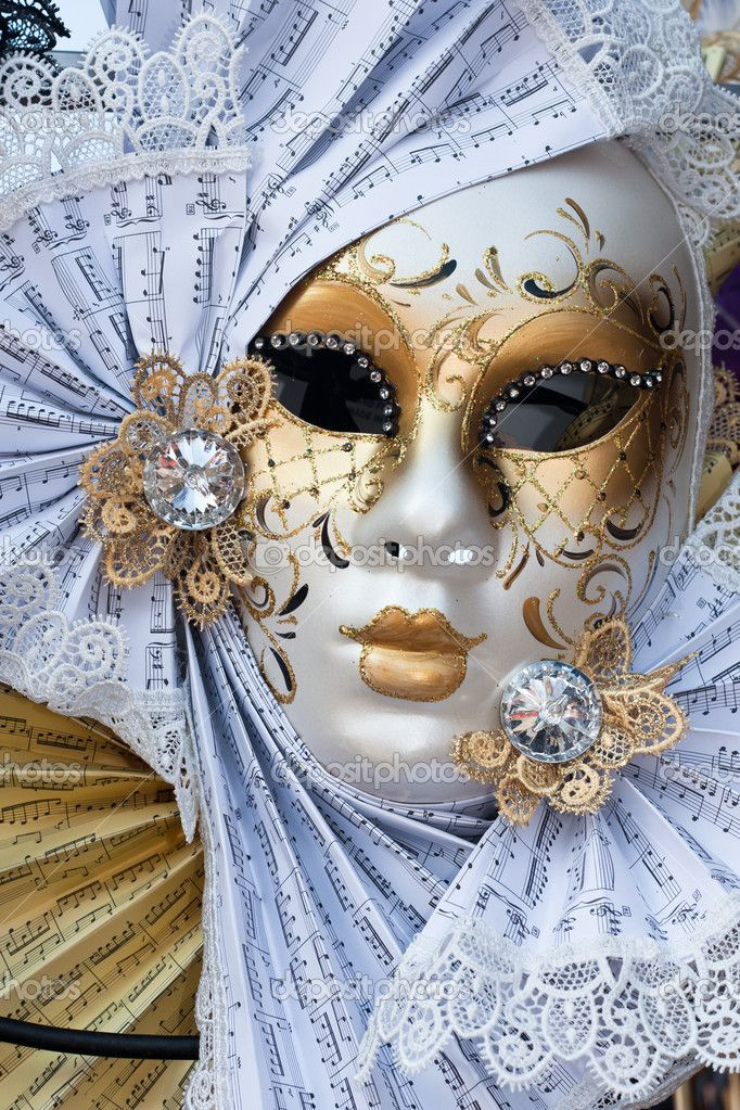 Yellow and white venice carnival mask — Stock Image © R Lemiengre #