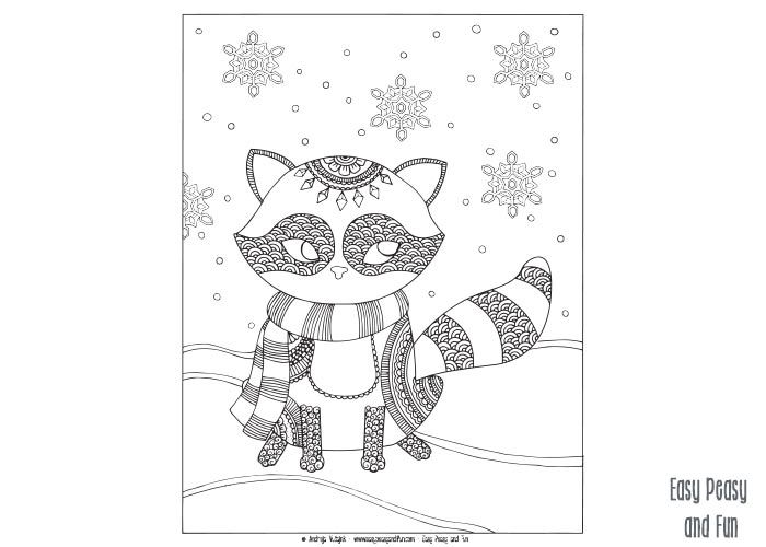 Raccoon Winter Coloring Page For Adults And Kids Easy
