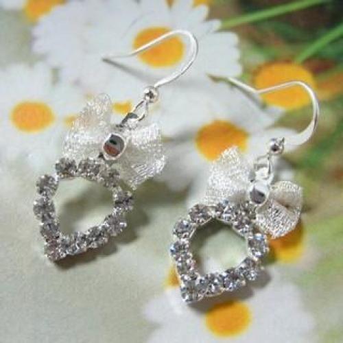 Rhinestone Earrings Silver - One Size