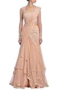 Blush pink embroidered lehenga sari