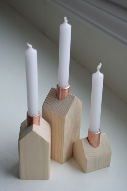 Little wooden house candle holders with copper chimneys
