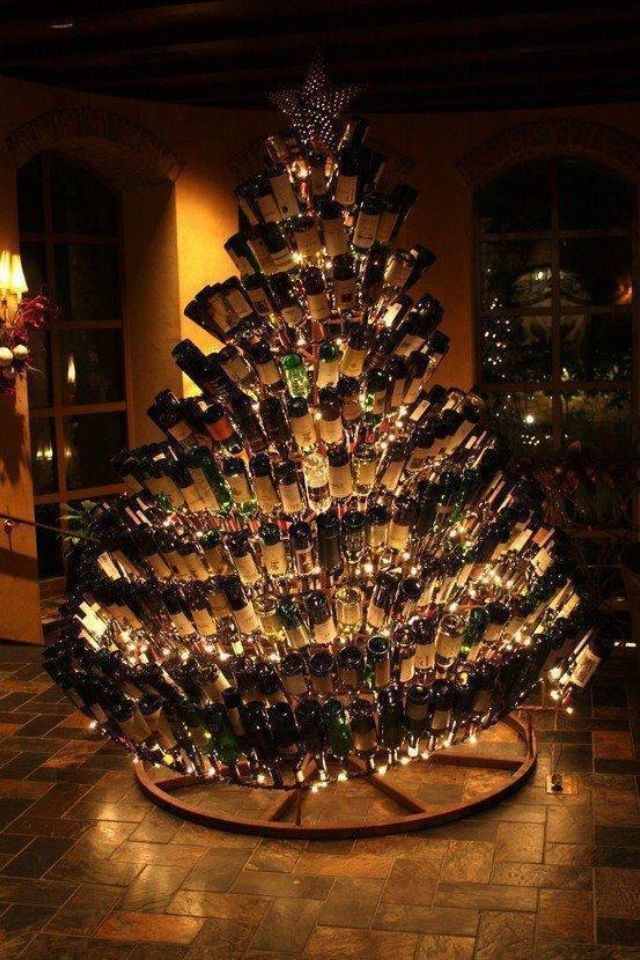 Neat display seen at restaurant: tree made of wine bottles