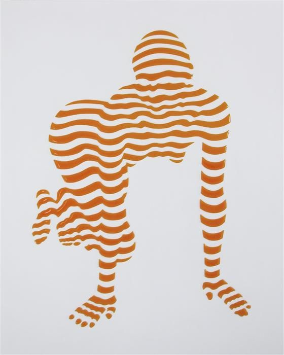 "Original art for sale at UGallery.com | Stripe Pose #4 by Philippe Jestin | $1,700 | mixed media artwork | 30"" h x 24"" w"
