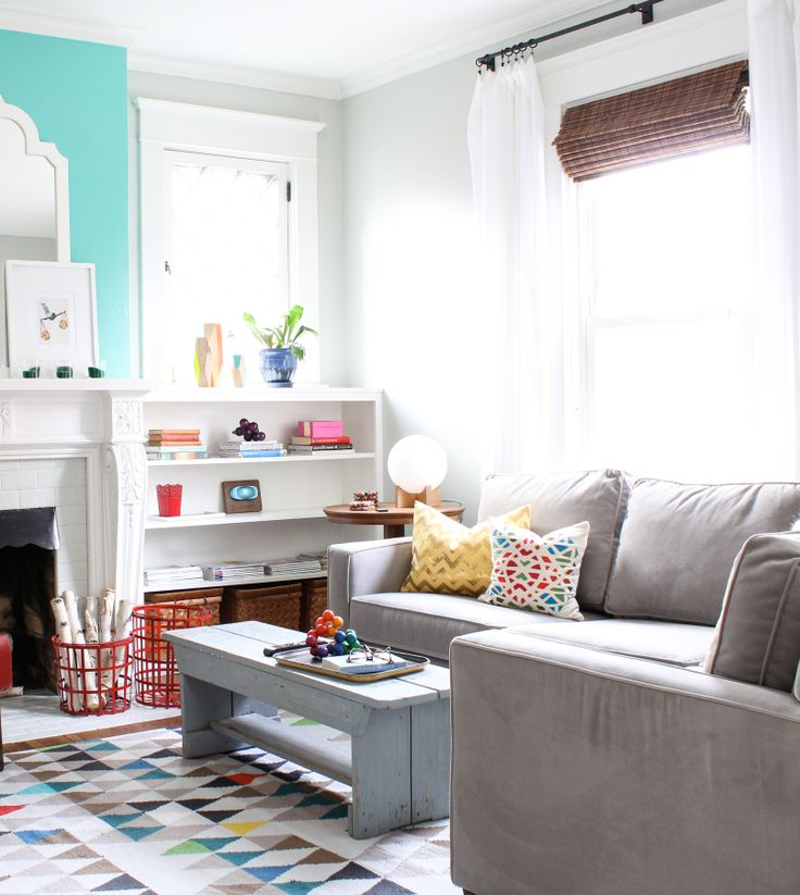 Colorful and happy living room. Get the details: http://instagram.com/inspiredbycharm