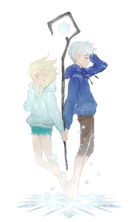 Has anybody noticed that when jack makes ice it is all swirly, and Elsa's is more spiked, but Elsa and jacks hair is fashioned more after the others ice pattern.?